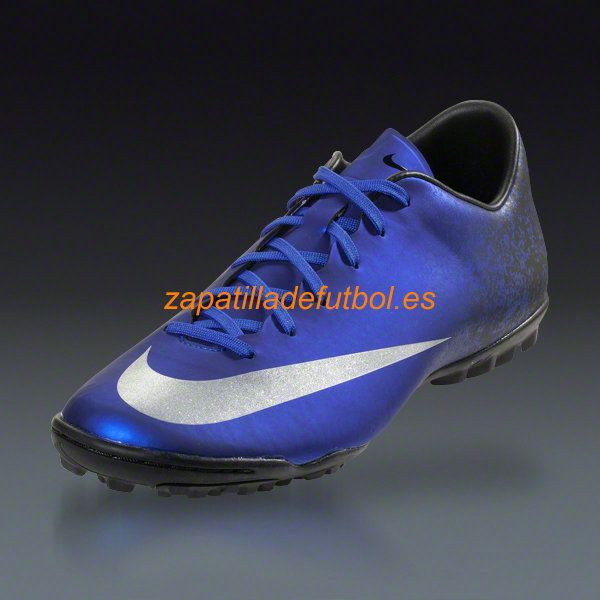 Caliente Zapatos de futbol Sala Nike Mercurial Victory V CR7 TF Plata Azul Royal Corredor Azul Negro Metalico