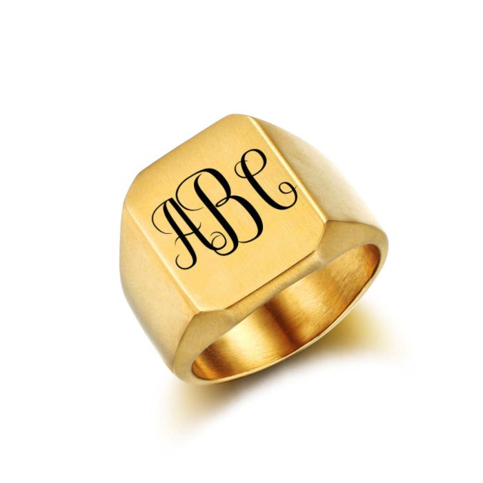 Post Included Aus Wide and to most international countries! >>>  Monogram Signet Ring - Square Gold Stainless Steel
