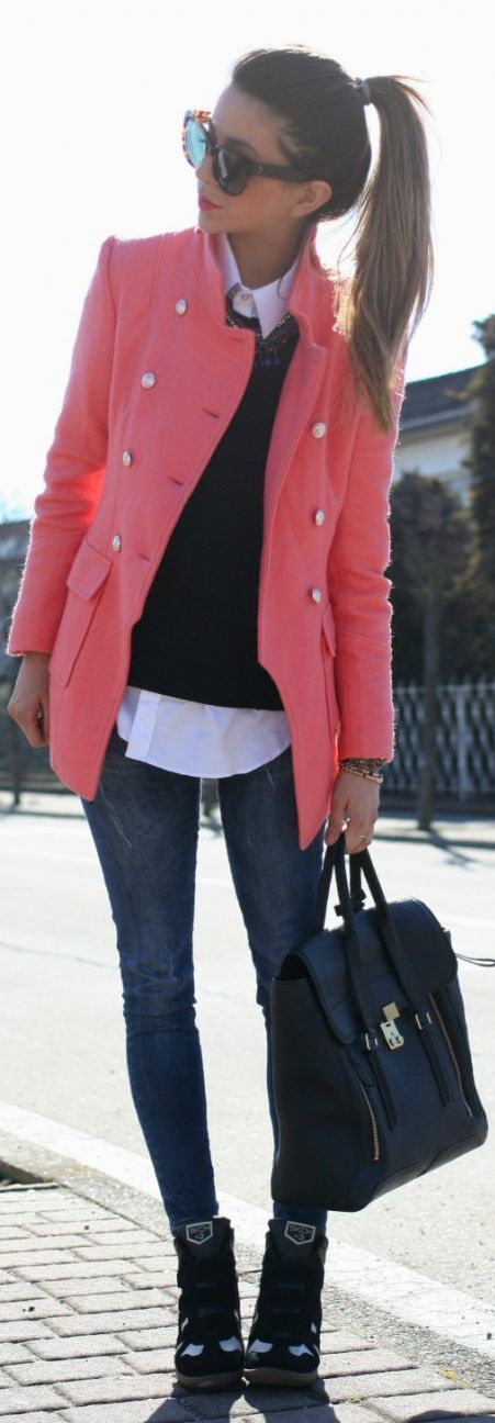 Coral jacket, black skinnies, booties