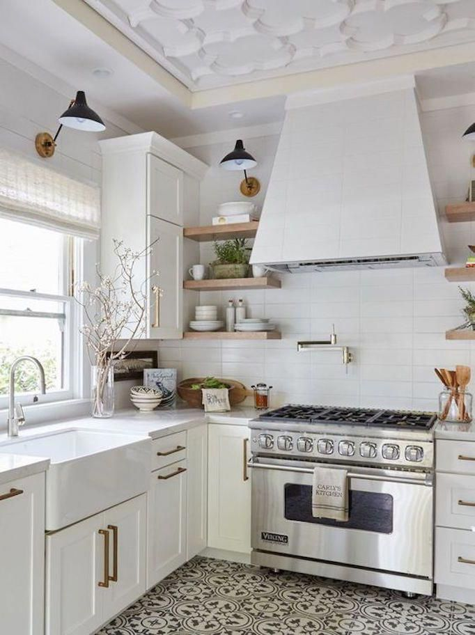 becki owens 7 elements of the modern farmhouse white kitchen with black and white cement tile on farmhouse kitchen black and white id=71271