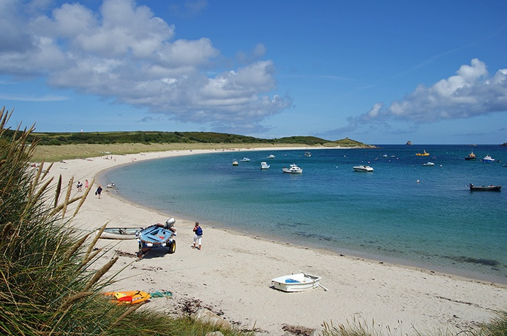 Par Beach and English Island Point on the SE side of the Scilly islands, Cornwall