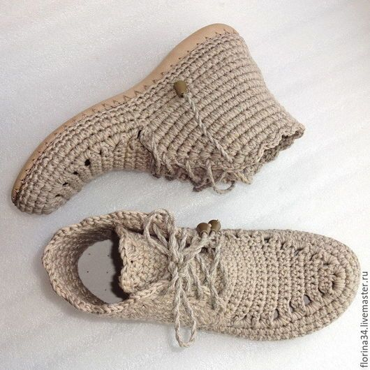 Обувь ручной работы. Заказать Ботинки вязаные со шнуровкой, серый, лен. Елена Гончарова Вязаная обувь. Ярмарка Мастеров.