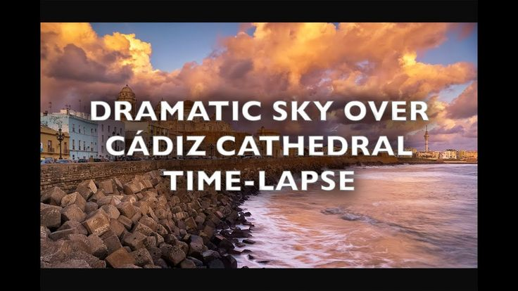 Dramatic Sky Over the Cathedral Cadiz Spain Time Lapse 4K Royalty Free F...
