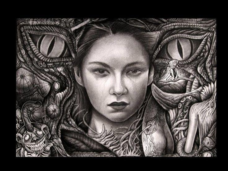 Ariel Guerra | tsū ''I'' Técnica mixta sobre papel. #drawing #portrait #blackandwhite #A