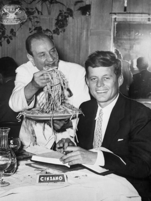JFK in Rome, Alfredos~the originator of Fettuccine Alfredo sauce and named after inventor & Alfredo's Restaurant founder, Alfredo di Lelio. ( They still prepare the pasta at your table today!! ~ The House of Beccaria )