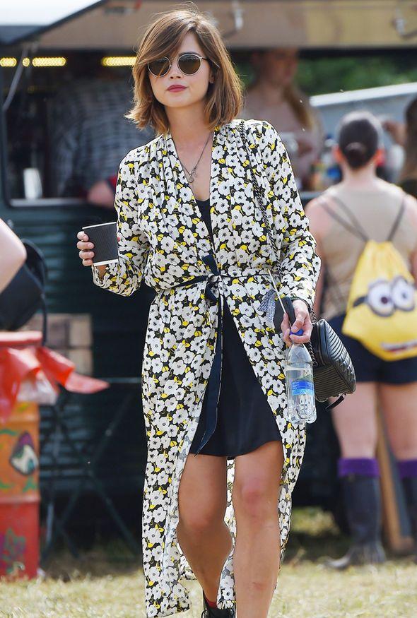Jenna Coleman stylish at Glastonbury