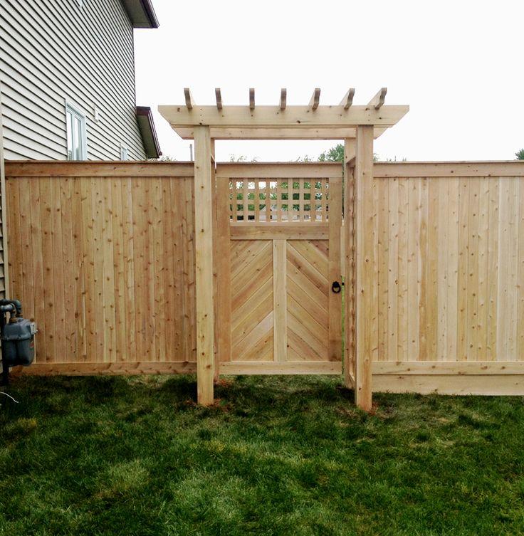 Herringbone cedar gate with lattice and pergola top.  Snug Cottage hardware.  Supplied and installed by Lanark Cedar
