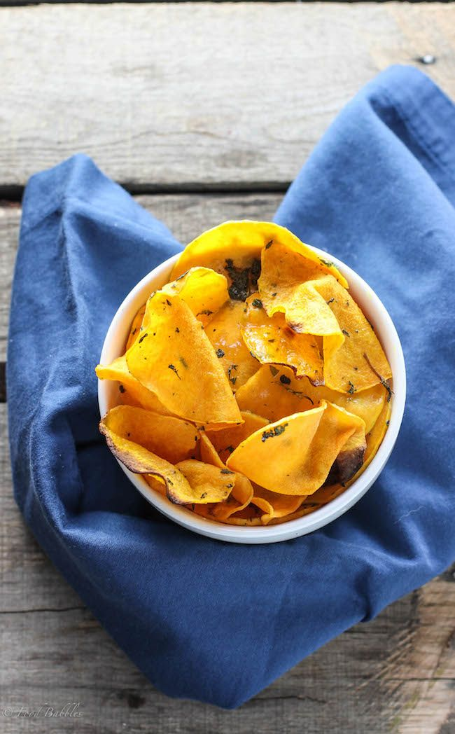 Baked, butternut squash chips.