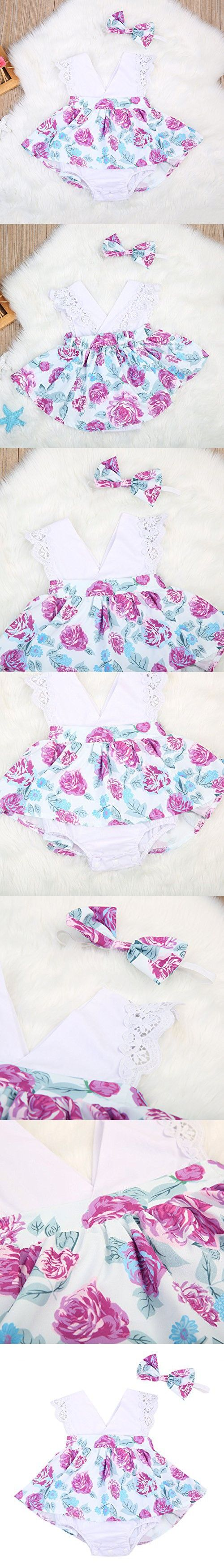 Baby Girl Clothes Floral Cotton Romper Skirt Bodysuit Jumpsuit Outfit Dress With Headband (6~12months, White)