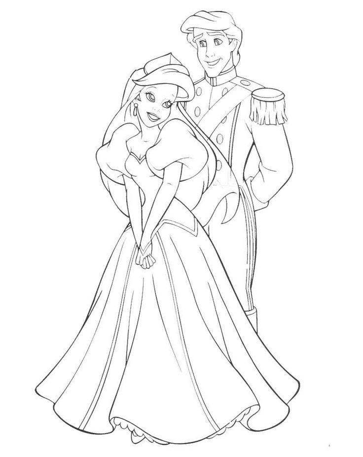 Principesse Disney da colorare - Principesse Disney da colorare Sirenetta Principe ballo