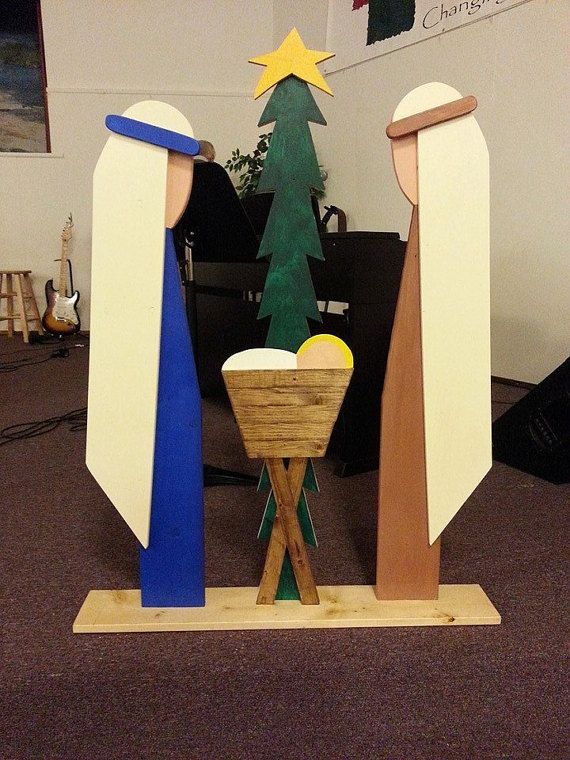 Outdoor Wooden Nativity: Mary Joseph & Baby Jesus by BAZZcreations