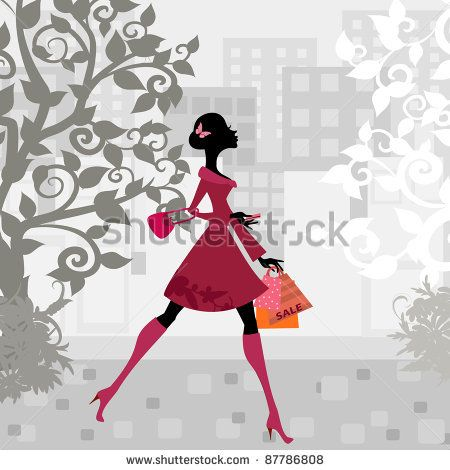 urban shopping girl - stock vector id 87786808