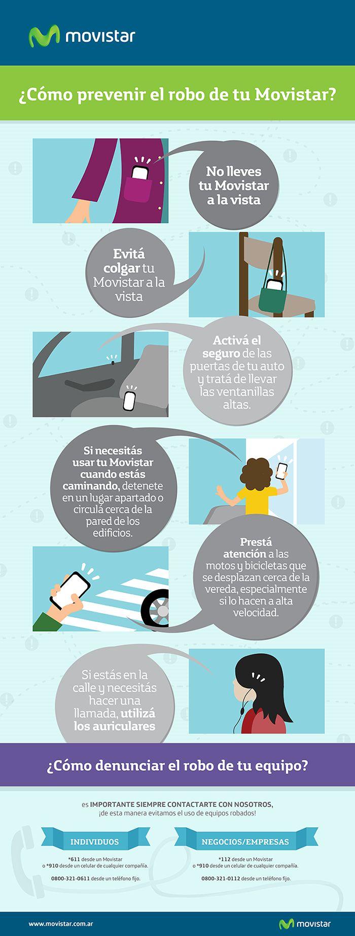 ¿Cómo prevenir el robo de tu celular? #Celulares #Movistar #Cuidados ¿Más info? Ingresá en http://www.movistar.com.ar/robo-de-equipos/?utm_source=pinterest&utm_medium=socialmedia&utm_content=contenidos&utm_campaign=robocelular