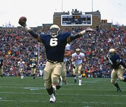 Former Notre Dame running back Jerome Bettis #5 was elected to the Pro Football Hall of Fame