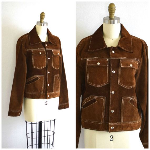 70s Boho Brown Suede Jacket/ Cropped Mexican Joker Jacket/ Womens Size Small