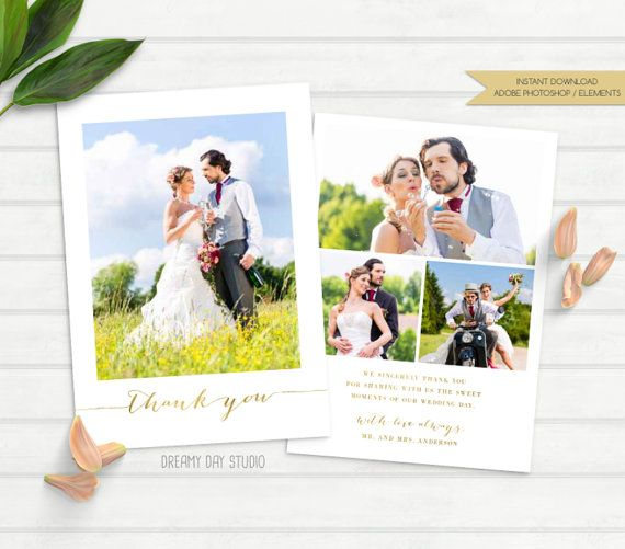 wedding thank you card, wedding thank you photo card, wedding thank you photo, wedding thank you card template, elegant, gold foil, glitter by dreamydaystudio