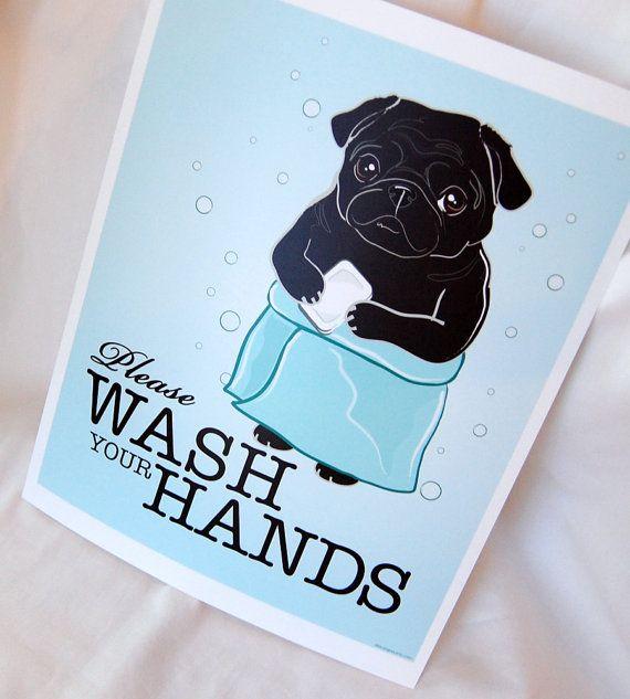 Pug illustration for the bathroom - Etsy