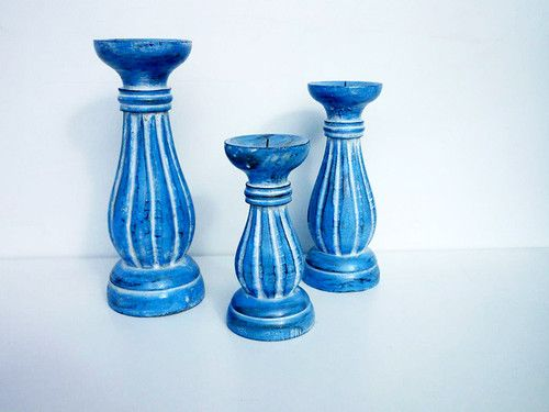 Candle Holders, timber, Set of three, Balinese, Hand Carved, Wooden, Brand New  These Gorgeous Hand Carved and Painted Set of 3 Timber Shabby Chic Candle Holders will look great in any home?  You can easily find a special place in your home for these beautiful candle  these candle holders have been hand crafted and painted with love by local Balinese artisans