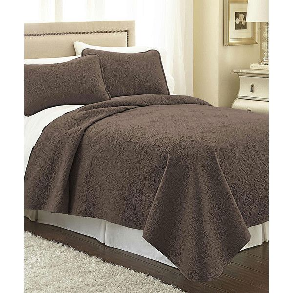 Southshore Fine Linens Chocolate Brown Vilano® Springs Classic Quilt... ($38) ❤ liked on Polyvore featuring home, bed & bath, bedding, quilts, twin bed linens, bed linen, twin bedding sets, linen bedding sets and chocolate brown pillow shams