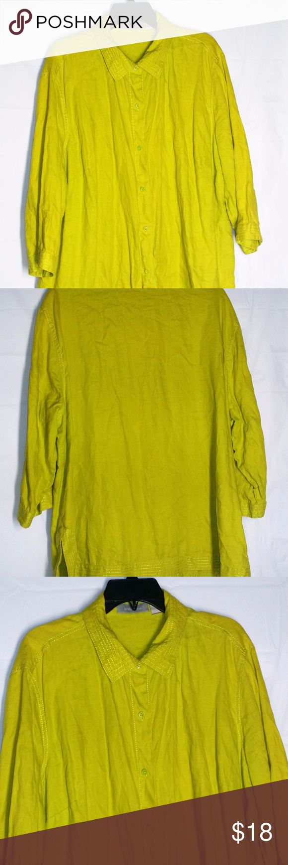 """Liz Claiborne Blouse 2X Linen Button Front Top Liz Claiborne 2X Linen Button Front Blouse Tunic Lime Green Top Split Hem  Gently used condition Machine wash cold & tumble dry low 3/4 sleeves Split hem at hips Approx bust 54"""" and length 29"""" Linen Top stitched 3/4 sleeves Liz Claiborne Tops Blouses"""