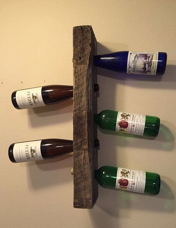 Rustic Wine Rack Bottle Display Wall Shelf Rustic Home Decor Wood Pallet Furniture