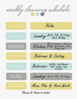 Finally going to give one of these schedules a go - heres to a cleaner more organised home!!