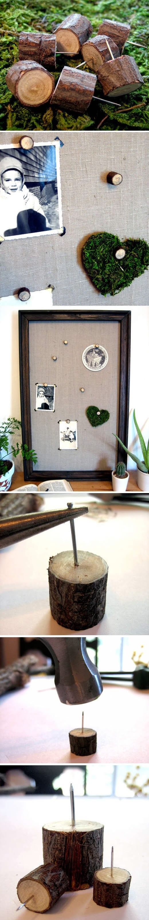 DIY tacks, made from twigs. Love this! Could use to hang jewelry for display, cool to change up into magnets too!