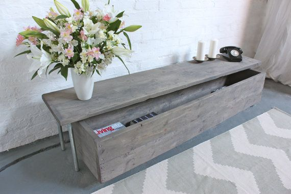 Joanna Reclaimed Grey Washed Scaffolding Board Low by inspiritdeco
