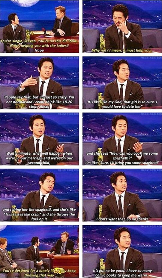 Glenn from The Walking Dead on dating… | no original poster... It's Steven Yeun- sincerely Ethan McEwin <<< pinning for the comment. What?!