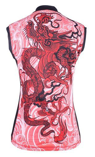 Women's Athletic Apparel: Celtic Dragon Sleeveless Tri-pocket Jersey-red - Womens Cycling Tops and Sports Clothes