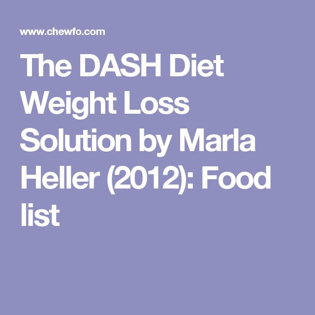 The DASH Diet Weight Loss Solution by Marla Heller (2012): Food list