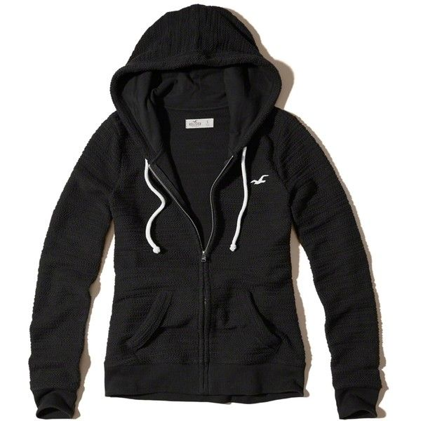 Hollister Full-Zip Boucle Icon Hoodie ($50) ❤ liked on Polyvore featuring tops, hoodies, black, hooded top, full zip hooded sweatshirt, full zip up hoodie, drawstring hoodie and full zipper hoodie
