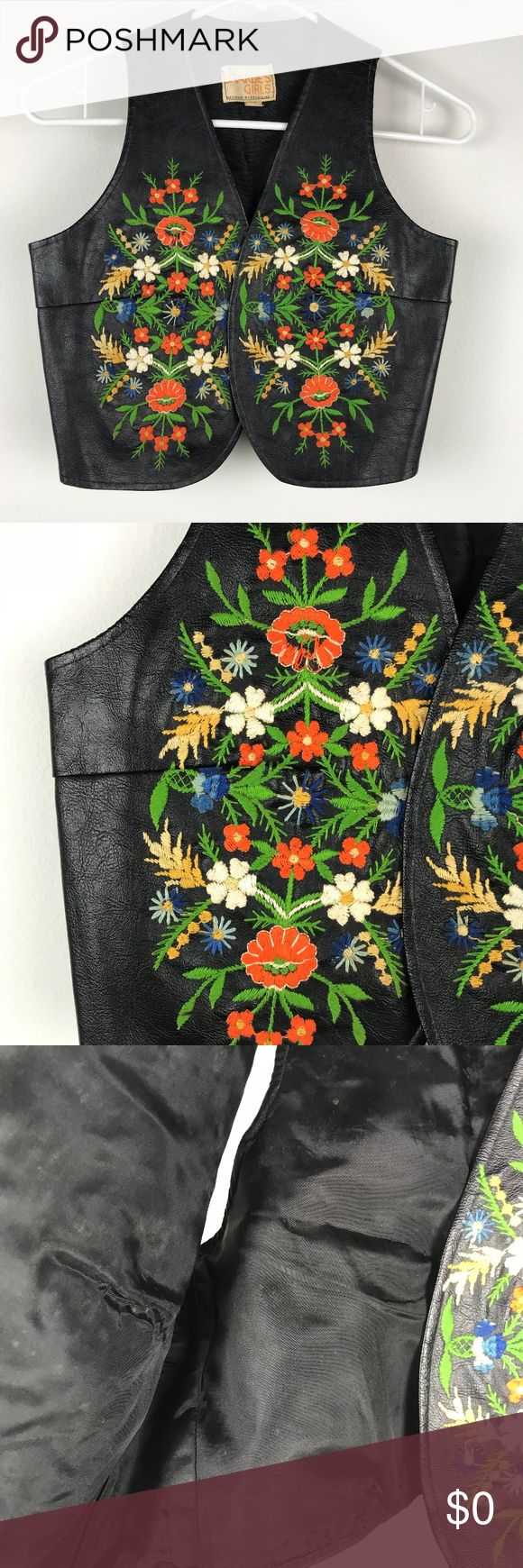 Charlie's Girls Jacket Vest Lined Embroidered Sz 5 Brand: Charlie's Girls Buyer: Girls Item: Jacket Material: Faux Leather Fit: Vest Details: Embroidered, lined, floral Size: 5 Color: Black, Orange Condition: missing item tag  Measurements: Armpit to Armpit: 16 inches Shoulder to Hem: 16 inches  Location: OO17 Weight: FC 7 oz Charlie's Girls Jackets & Coats Vests
