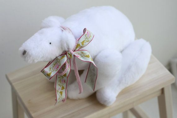 Cute fluffy polar bear toy  adorable soft by dearblueberryshop, €25.00