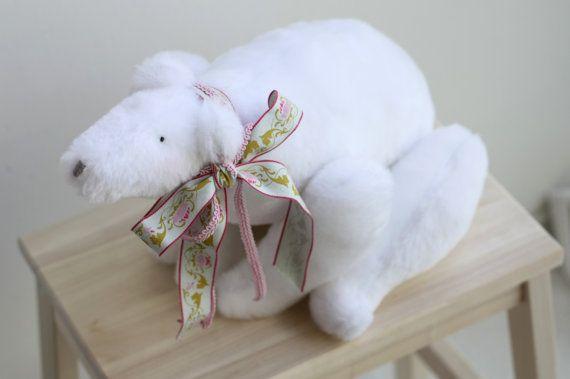 Cute fluffy polar bear toy  adorable soft by dearblueberryshop, €25.00