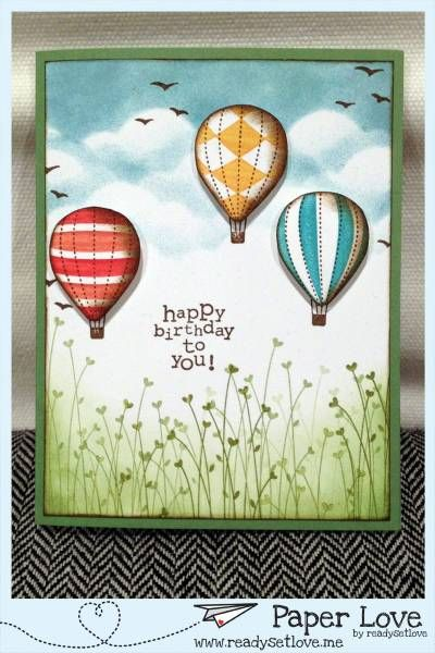 Mmm - fluffy clouds and hot air balloons. What's not to love about such a card...? Up, Up & Away stamp set