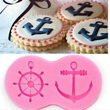 3D Anchor Rudder Wheel Ship Shape Silicone Fondant Mould DIY Sailor Nautical Theme Chocolate Candy Cake Decorating Cookie Mold(China (Mainland))