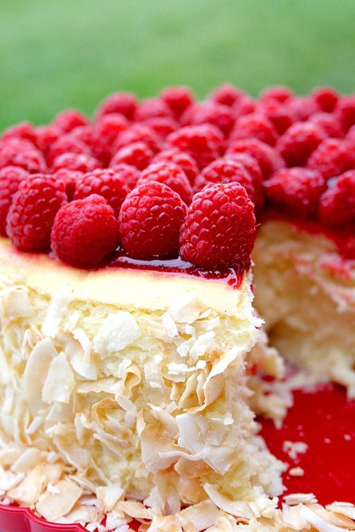 Raspberry Coconut Cheesecake. How delicious!! raspberry cheesecake food