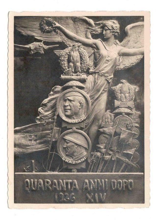 Cartolina commemorativa bellissima    QUARANTA ANNI DOPO 1936 XIV