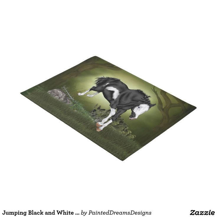 Jumping Black and White Overo Paint Horse Doormat