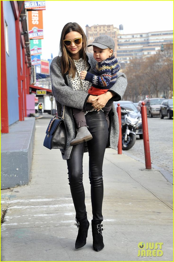 2017 06 fashionplaytes design studio - Miranda Kerr Wore Leather Trousers And A Printed Blouse While Out In New York With Her Baby Son Flynn