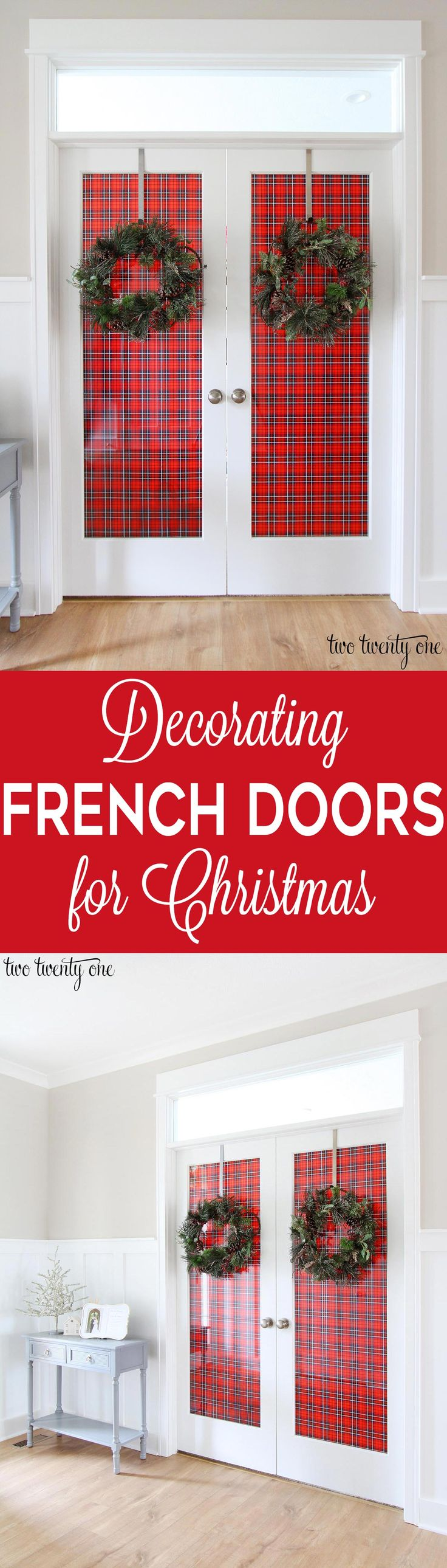 Decorating French Doors for Christmas!