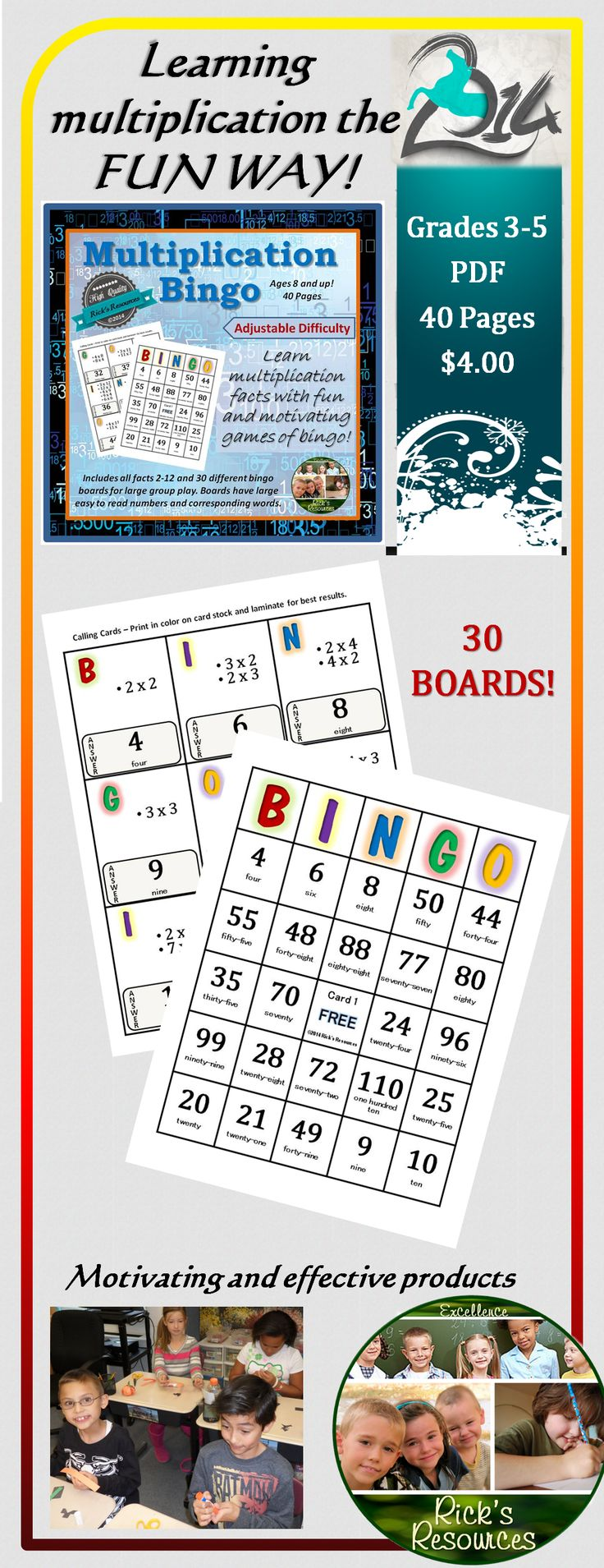 86 best whole numbers pemdas exponents images on pinterest math a fun way to learn or review multiplication facts this is a high quality bingo fandeluxe Image collections