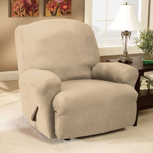 Sure Fit Stretch Suede Recliner Slipcover Medium Taupe