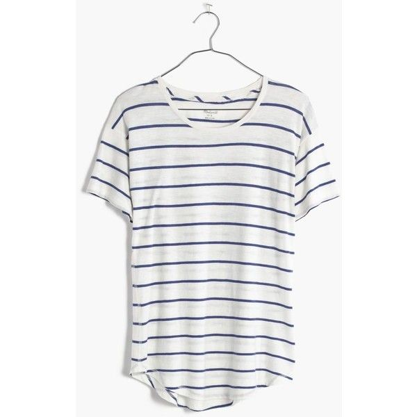 MADEWELL Whisper Cotton Crewneck Tee in Mariner Stripe (45 CAD) ❤ liked on Polyvore featuring tops, t-shirts, tees, pure white, cotton t shirt, white crew neck t shirt, white cotton t shirts, stripe t shirt und stripe tee