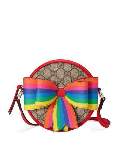f43501e15e4 Girls  Circle GG Supreme Crossbody Bag w  Rainbow Bow  front bow rainbow