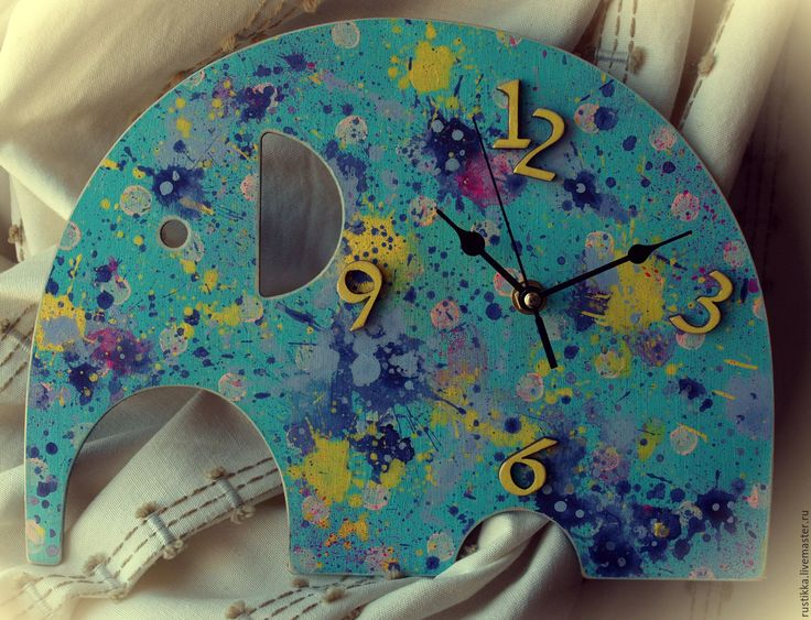 """Купить Настенные часы """"Сатиновый слоник"""" - голубой, настенные часы, настенные часы в подарок"""