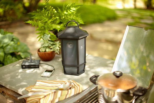 Can you spot the outdoor speaker? The Mission Style Wireless Outdoor Speaker looks like a small lantern!