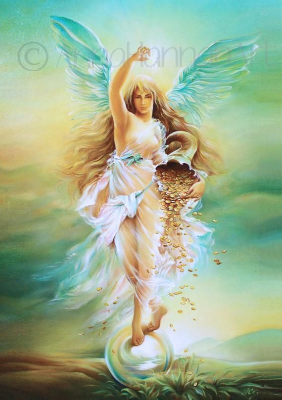 Arte Imprimir Verde Fortuna Angel Diosa Abundancia Riquezas