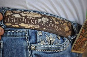 """All American Cowgirl Chicks, """"Fight Like A Cowgirl"""" belt"""
